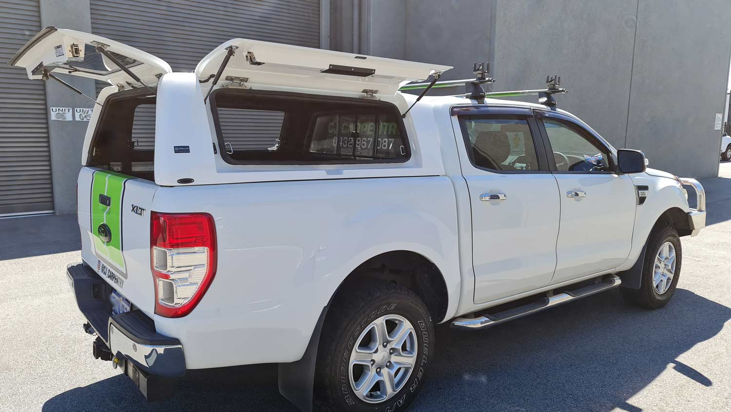 Force Pro Canopy on Ford Ranger 2016 - side view with open doors